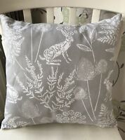 "Dunelm Kielder Rabbit Hare Dove Grey 16"" Cushion Cover Vintage Shabby Chic"