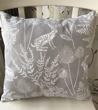 "Dunelm Kielder Rabbit Hare Dove Grey 16"" Cushion Cover Vintage Shabby Chic"
