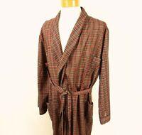 Men's 1970s Plaid Robe Red Green Size XL Vintage Montgomery Ward