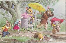 Mainzer Cat Postcard,#4093,Rat Family in the Rain,Belgium.1940-50s