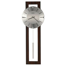 "Modern Contemporary Brown Wood & Silver Metal Pendulum Wall Clock 24"" Battery op"
