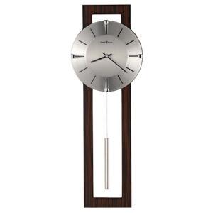 """Modern Contemporary Brown Wood & Silver Metal Pendulum Wall Clock 24"""" Battery op"""