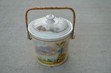 Antique Hand Painted Ice Bucket Japan Vintage Straw Handle Ceramic Porcelain