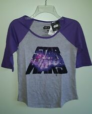 NWT Star Wars Girls LARGE Raglan Style Half Sleeve Shirt PURPLE Galaxy #27816