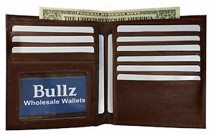 Genuine Leather Large Hipster Bifold Credit Card Id Men's Wallet Euro Brown 155