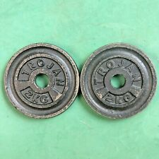 "One pair 2 Kg Vintage TROJAN Plates standard 1"" weights, two plates - rare"