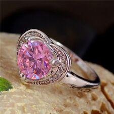 Neue Schöne Damen Ring mit Rosa Zirkon Herz Gestempelt 925 Gr. 58