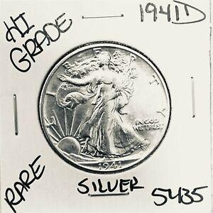 1941 D LIBERTY WALKING SILVER HALF DOLLAR HI GRADE U.S. MINT RARE COIN 5435