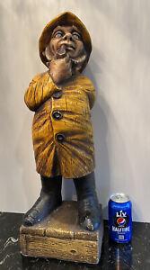 """Vintage Alfco NY Nautical Fisherman Smoking Pipe Figurine 24"""""""