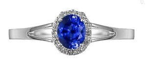 September Birthstone 14K White Gold Real 0.478CT Blue Sapphire Oval Diamond Ring