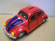 Plaster Piggy Bank Old VW Bug, Red - Mexico