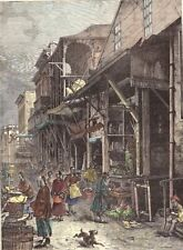 San Francisco  - Chinatown -  Hand Colored wood cut 1882