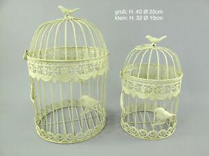 Antico Decorazione Gabbia per Uccelli 2er-Set IN Metallo Piante Fiori Rotondo