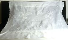 Vintage Hand Embroidered Linen Organza Tea Cloth Tablecloth VV573