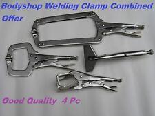 Bodyshop Panel Locking Pliers Welding Clamps 4 Pc Metalworking Mole grips