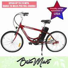 Cruiser Men Electric-Bicycle Battery Powered E-Bike Eco-Ride 24''Tire 250 W Red