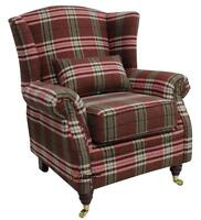 Wing Back Queen Anne Cottage Fireside High Back Wing Armchair Balmoral Red Check