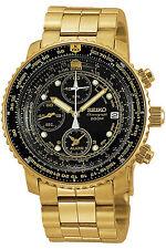 SEIKO SNA414P1,Men's Pilot Alarm Chronograph,Gold Tone,Box,Tag,200m,SNA414