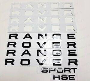 3PCS Set Gloss Black RANGE ROVER & Sport HSE Letters Badge Logo Front Rear Hood