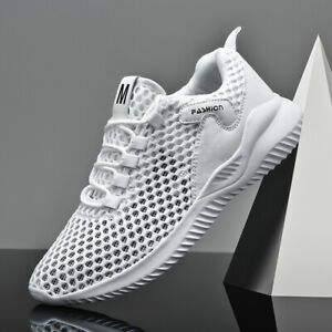 Mens Athletic Shoes Lightweight Breathable Mesh Running Sneaker White EU42/US8.5