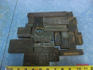 Lot 28 misc. antique letterpress wood blocks, images plus, metal & hard linoleum