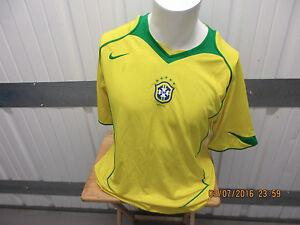 VINTAGE NIKE BRAZIL NATIONAL SOCCER/FOOTBALL TEAM XL SEWN YELLOW JERSEY 2002/04
