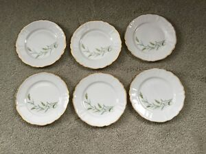 Lot of 6 Rorstrand China Plates, Sweden Gold & Green ferns, Scalloped Gold Rim