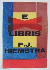 H.N. Werkman 1936 avant-garde print bookplate for Hiemstra; Dutch Constructivism