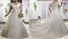 Custom Lace Sleeves Plus SizeBridal Gown Wedding Dress Size 14-16-18-20-22-24++