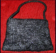 HEAVY BEAD EMBROIDERED WITH BEAD STRAP SATIN HANDBAG/EVENING PURSE FROM INDIA!