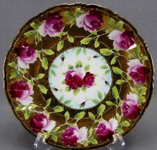 Nippon Wheelock Hand Painted Dark Pink ROse & Gold Luncheon Plate C. 1898 - 1909