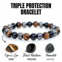 Unisex Obsidian Tiger Eye Hematite Bracelet Triple Protection Stone Bangle Gift