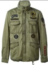 DIESEL Military Men's Green Patched Belted Field Jacket Coat XL
