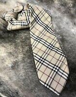 "Burberry London Men's Necktie Tan Classic Nova Plaid 100% Silk 3.5"" W x 58"" L"