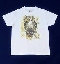 New Unique T-Shirt with Owl Size 10Y, Short Sleeve, Round Collar, 100% Cotton