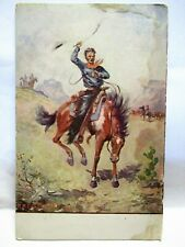 1916 SIGNED R.A. DAVENPORT POSTCARD COWBOY ON HORSE WITH WHIP