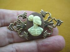(CA10-108) RARE African American LADY brown + ivory CAMEO art deco Pin Pendant