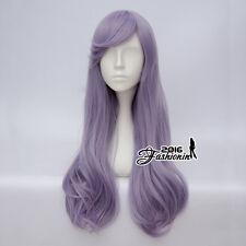 60CM Lolita Ash Light Purple Wavy Halloween Party Cosplay Wig Heat Resistant+Cap