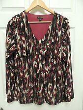 DANA BUCHMAN Women's Blouse Long Sleeve Black Pink Stretch Size XL Shirt Top