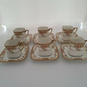 SET OF SIX  PRETTY SQUARE DEMI TASSE NORITAKE COFFEE CANS AND SAUCERS.