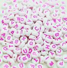 100 x 7mm Mixed White Pink Letter Flat Round Bead Jewellery Dummy Clip Making