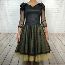 Vintage 80's Black Yellow Lace Bow Fit Flare Sweetheart Neckline Party Dress XS