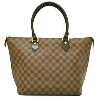Authentic Louis Vuitton Damier Canvas Tote Satchel Hand Bag Saleya MM Brown LV