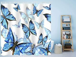 Nice Gem Blue Butterfly French Country Shabby Chic Boho Fabric Shower Curtain