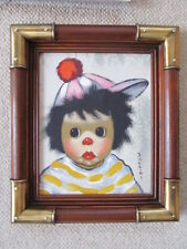 MID CENTURY BOLLINI BIG EYED CHILD CLOWN OIL PAINTING FRAMED SIGNED HOLLYWOOD