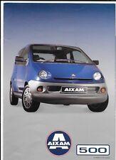 AIXAM (français) eco, Luxe, Super Luxe et ut 500 modèles Anglais brochure 1999