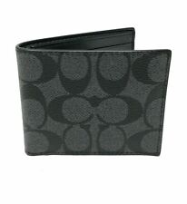 Coach Men's ID Billfold Wallet Signature Canvas Charcoal/coach gift Box/tissue