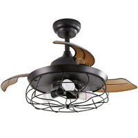 36'' Ceiling Fan with Lights Black Rustic Ceiling Fan with  3 Retractable Blades