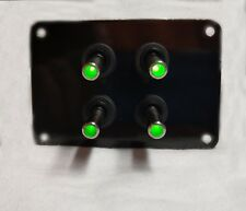 4 HOLE Black Powder Coated w/ 4 LED toggle switches - GREEN