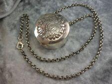 Trachten Dose Schnupftabak Pillen mit Kette in 925 Silber